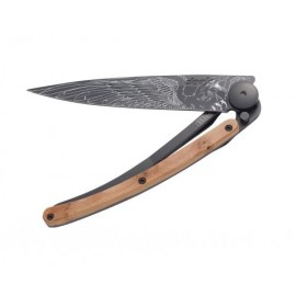 DEEJO POCKET KNIFE BLACK  JUNIPER WOOD EAGLE