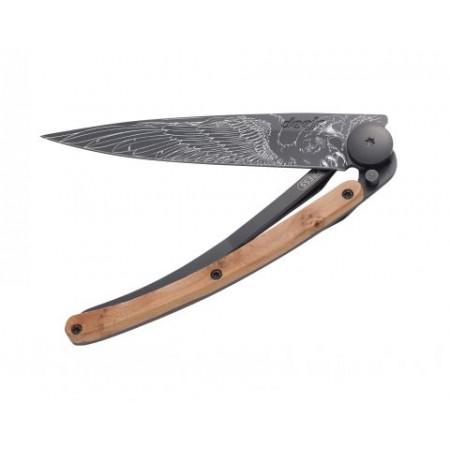 DEEJO POCKET KNIFE BLACK  JUNIPER WOOD EAGLE