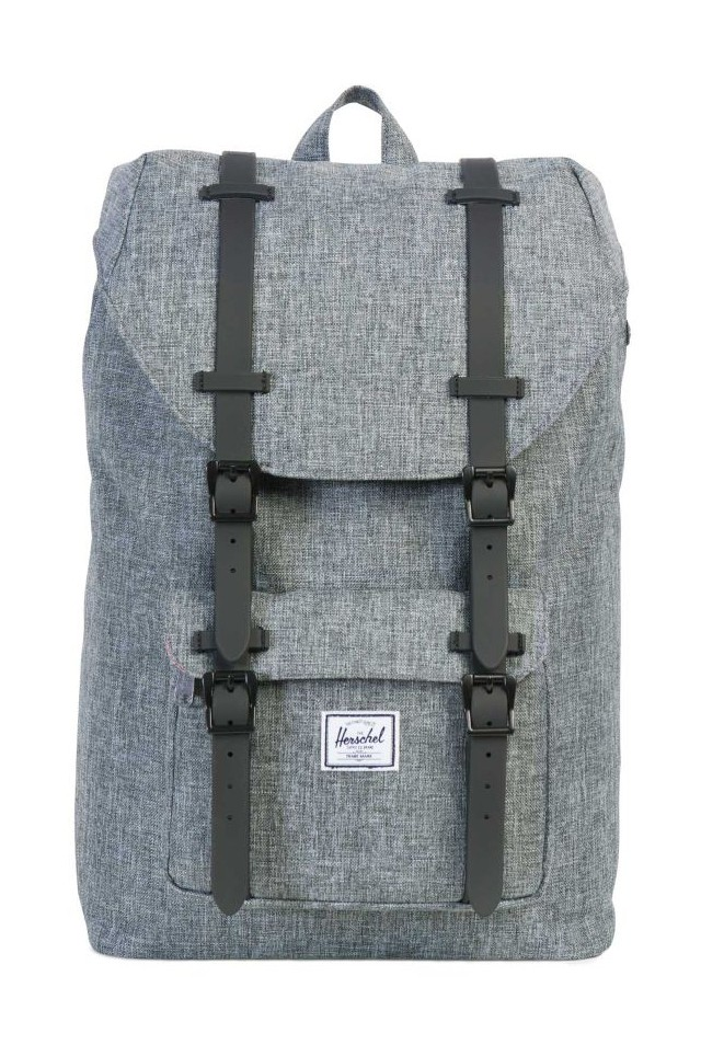45b426f60d0 HERSCHEL LITTLE AMERICA MID CLASSICS BACKPACK Raven Crosshatch Black  Rubber. Loading zoom