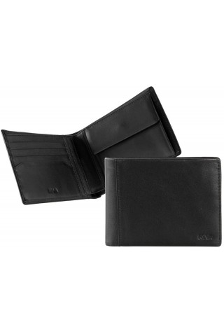 NAVA SM405N SMOOTH WALLET, 4 CREDIT CARD SLOTS AND COIN POCKET BLACK