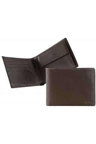 NAVA SM405BW SMOOTH WALLET, 4 CREDIT CARD SLOTS AND COIN POCKET BROWN