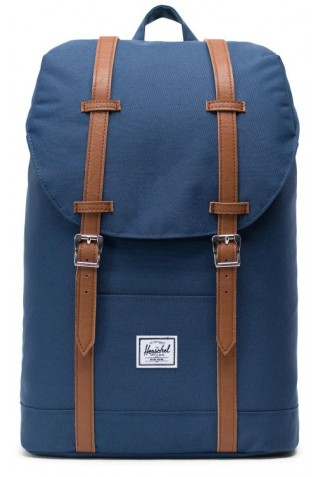 ΣΑΚΙΔΙΟ ΠΛΑΤΗΣ HERSCHEL 10329-00007-OS RETREAT MID CL BACKPACK Navy/Tan Synthetic Leather
