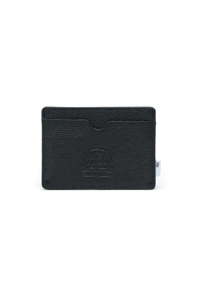 HERSCHEL 10421-01885-OS CHARLIE + TILELEATHER RFID WALLET BLACK PEBBLED