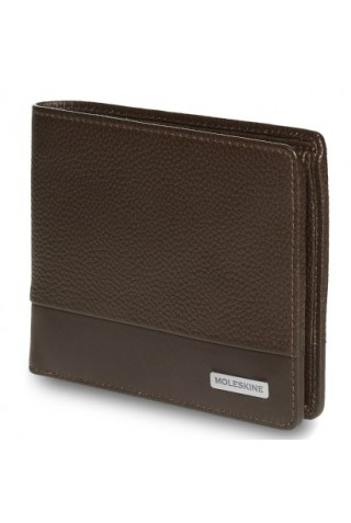 MOLESKINE CLASSIC MATCH HORIZONTAL LEATHER WALLET WITH COIN HOLDER BROWN ET84CMWHCP19