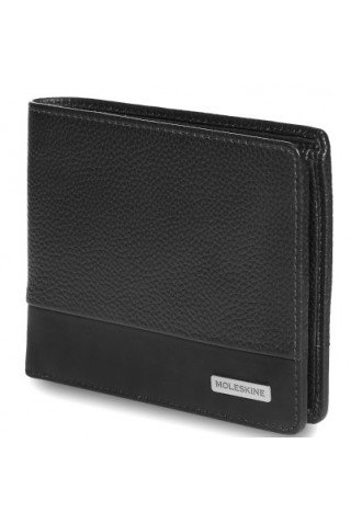 MOLESKINE CLASSIC MATCH HORIZONTAL LEATHER WALLET WITH COIN HOLDER BLACK ET84CMWHCBK