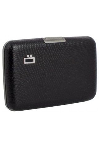 OGON CARD CASE STOCKHOLM SIMILI SNAKE VEGAN LEATHER BLACK