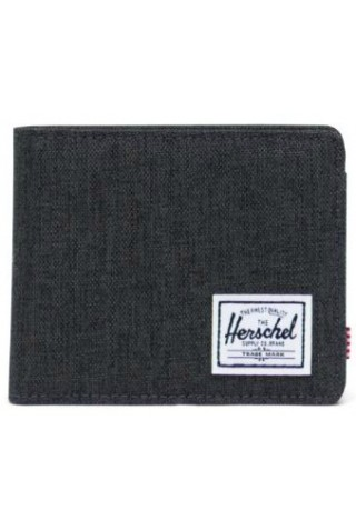 HERSCHEL 10766-02090-OS ROY COIN RFID WALLET BLACK CROSSHATCH