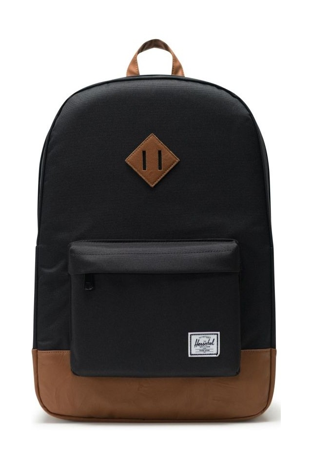 HERSCHEL 10007-00055-OS HERITAGE BACKPACK BLACK/TAN SYNTHETIC LEATHER