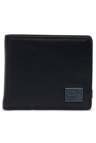 HERSCHEL 10851-00001-OS HANK COIN LEATHER WALLET RFID BLACK