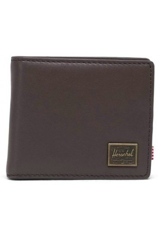 HERSCHEL 10851-04123-OS HANK COIN LEATHER WALLET RFID BROWN