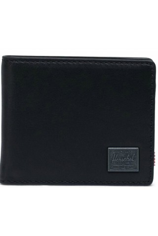 ΔΕΡΜΑΤΙΝΟ ΠΟΡΤΟΦΟΛΙ HERSCHEL 10850-00001-OS HANK LEATHER WALLET RFID BLACK