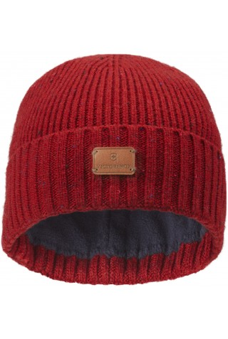 ΣΚΟΥΦΟΣ VICTORINOX RIB KNIT BEANIE WITH VX LEATHER PATCH 611133 RED