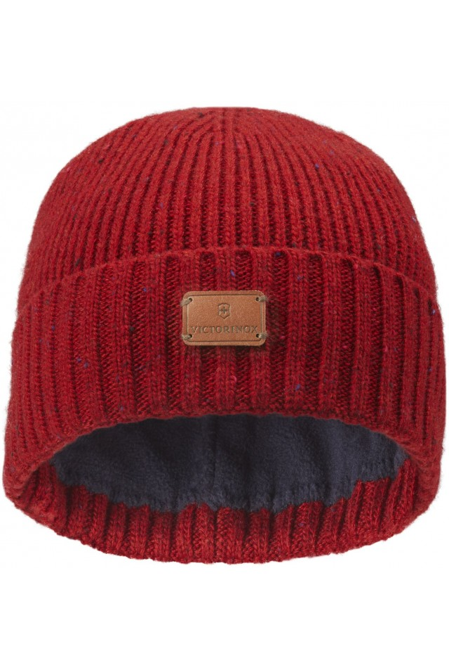 VICTORINOX RIB KNIT BEANIE WITH VX LEATHER PATCH 611133 RED