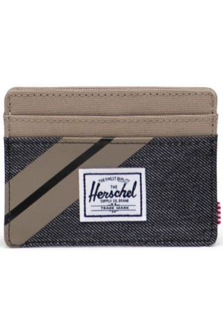 HERSCHEL 10360-04514-OS CHARLIE RFID WALLET Timberwolf/Black Denim
