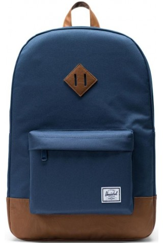 HERSCHEL 10007-00007-OS HERITAGE BACKPACK Navy/Tan Synthetic Leather
