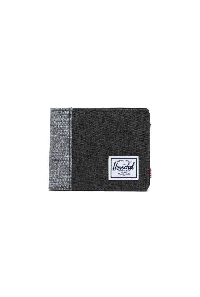 HERSCHEL 10766-04890-OS ROY COIN RFID WALLET BLACK CROSSHATCH/RAVEN X
