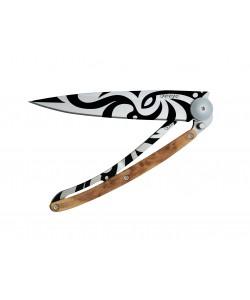 DEEJO POCKET KNIFE TATTOO 37G JUNIPER WOOD,TRIBAL